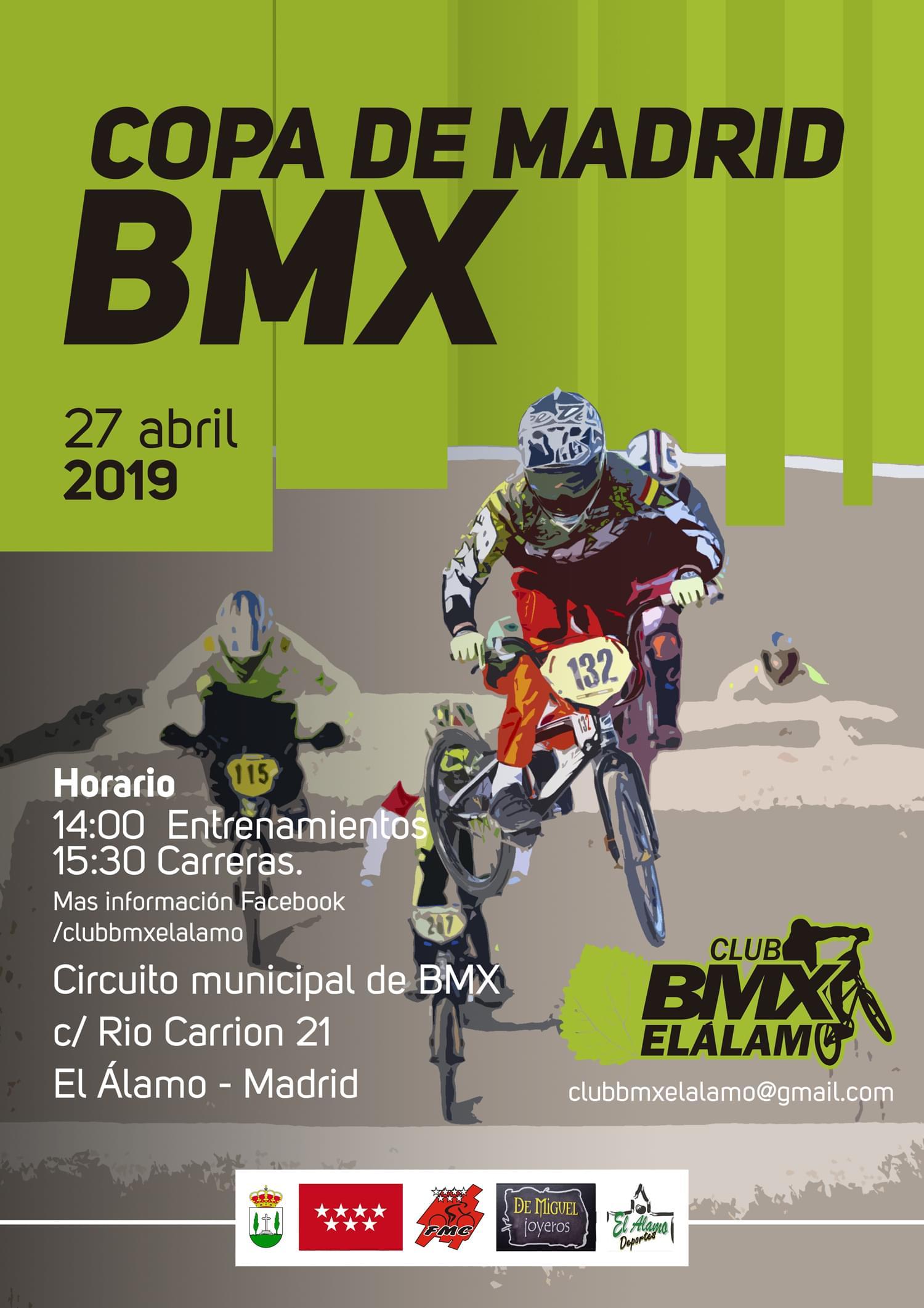 La tercera cita de la Copa de Madrid de BMX, el 27 de Abril en El Álamo