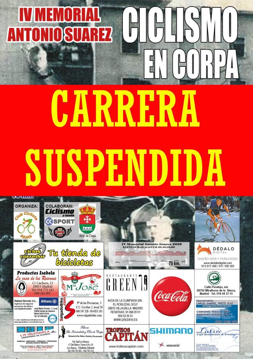 Última hora: Suspendido el IV Memorial Antonio Suárez de Corpa