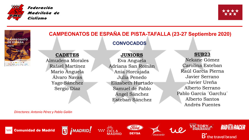 Una potente Selección Madrileña de pista acude a por todas a Tafalla