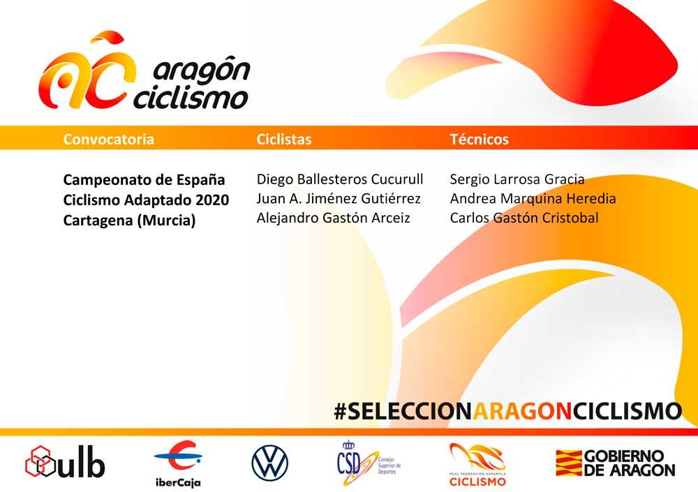 Selección Aragonesa para el Campeonato de España de Ciclismo Adaptado 2020