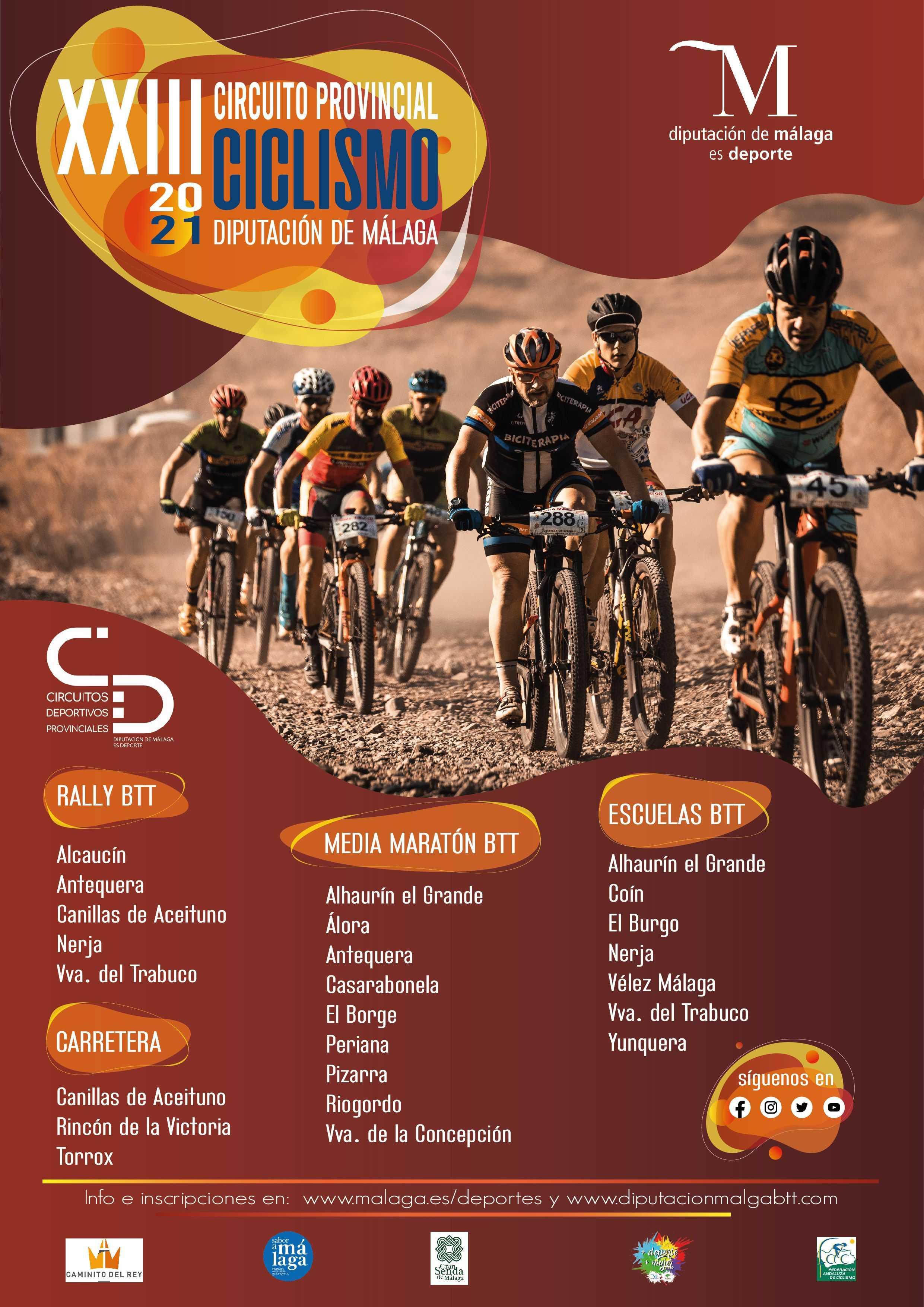 Fechas del XXIII Circuito Provincial de Ciclismo Diputación de Málaga