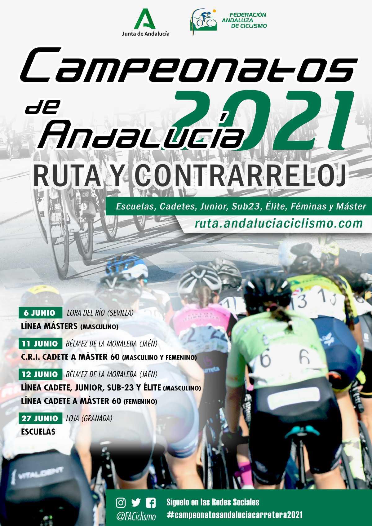 Sedes y fechas de los Campeonatos de Andalucía Contrarreloj y Ruta 2021