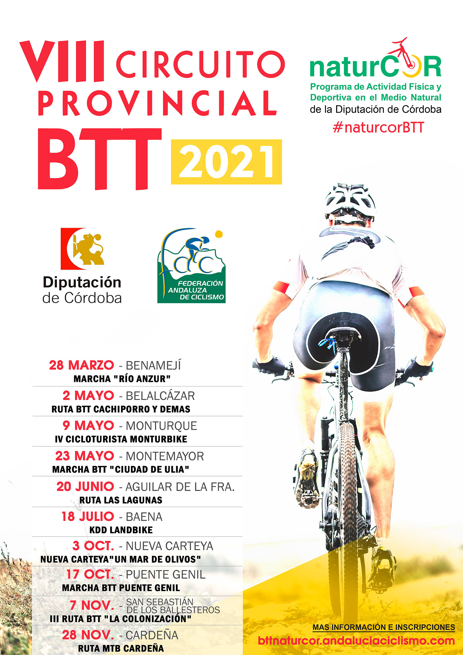 El VIII Circuito Provincial de BTT NaturCor regresará en Belalcázar
