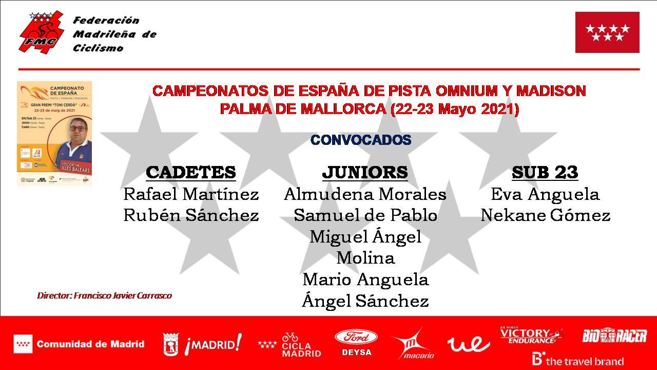 Aliciente máximo para la Selección Madrileña de pista en los Nacionales de ómnium y madison
