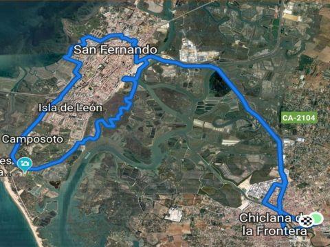 Ruta desde Chiclana hasta San Fernando
